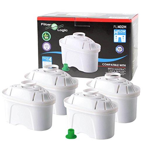 4 x FilterLogic FL402H - Cartouche filtrante compatible BRITA Maxtra pour fill & enjoy Elemaris / Marella / Navelia / Optimax et Bosch - Siemens Tassimo carafe filtrante