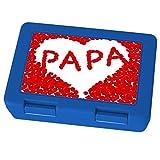 printplanet Brotdose mit Namen Papa, Motiv Blumenherz , Lunchbox mit Namen, Brotdose Blau - Frühstücksdose Kunststoff lebensmittelecht