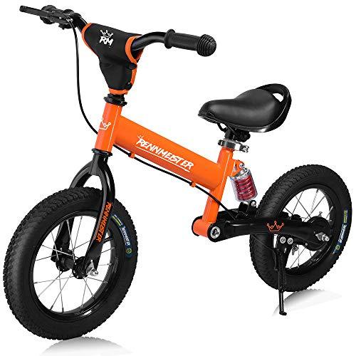 Deuba Rennmeister Laufrad | pneum. Breitreifen | Handbremse | Anti-Shock | Lenkerpolster | Kinder Fahrrad Lauflern Rad Balance Bike 12