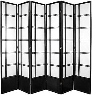 Oriental Furniture 7 ft. Tall Double Cross Shoji Screen - Black - 6 Panels