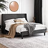Einfach Full Size Platform Bed Frame with Wingback Headboard / Fabric Upholstered Mattress Foundation with Wooden Slat Support, Dark Grey