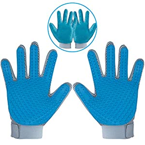 2020 New Pet Hair Remover Gloves for Furniture, Pet Grooming Gloves Hair Removal for Dogs & Cats, 2 in 1 Function of Pet Deshedding & Hair Remover Glove with Five Finger Design, 1 Pair