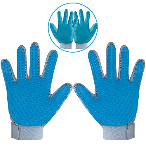 DELOMO Pet Hair Remover Gloves for Furniture, Pet Grooming Gloves Hair Removal for Dogs & Cats, 2 in 1 Function of Pet Deshedding & Hair Remover Glove with Five Finger Design, 1 Pair