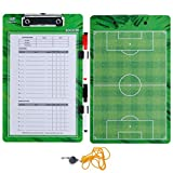 Coaches Dry Erase Clipboard – Double Sided Lineup Coach Whiteboard Bundled with Whistle and Dry Erase...