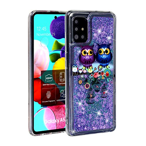 BIZHIKE Handyhülle Glitzer Hülle für Samsung Galaxy A51,Glitter Flüssig Treibsand Weich Silikon TPU Schutzhülle Mädchen Frauen Hülle Cover - Eule