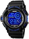 Mens Military Multifunction Digital Watches 50M Water Resistant Electronic 7 Color LED Backlight Black Sports Watch (Blue)