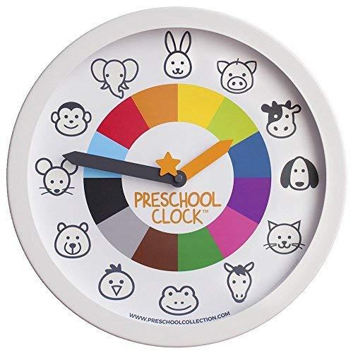 Preschool Clock - The Only Silent Clock a Toddler/Preschooler Understands - Time Learning/Teaching Metal Frame Wall Clock 12'' for Kids! Preschool Teachers Approved
