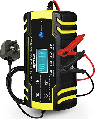 HAUSPROFI Car Battery Charger, 12V 24V 8Amp Automatic Battery Charger with 3-Stage Charging, 6 Charging Mode and LCD Screen, Intelligent Charges, Repairs, Maintains Car Motorcycle Boat Mower Battery