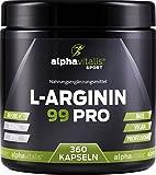 L-Arginin 99 PRO - L-Arginin Base vegan ohne Magnesiumstearat - 99% Wirkstoff - 360 Kapseln in bester Premiumqualität