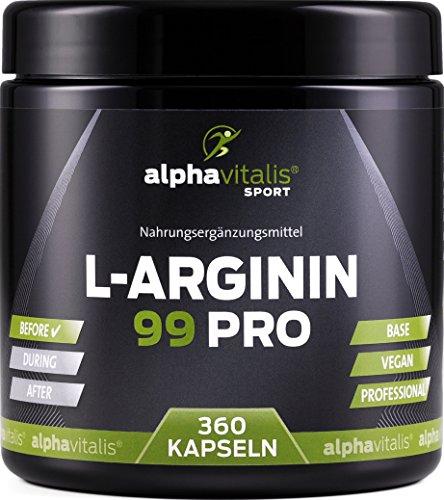 L-Arginin 99 PRO - L-Arginin Base vegan ohne Magnesiumstearat - 99% Wirkstoff - 360 Kapseln in deutscher Premiumqualität