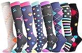 Besilay - Set di calze a compressione, per donne e uomini, 15-25 mmHg, ideali per trattamenti medici, circolazione, recupero, infermieristica, viaggi e aereo, corsa e fitness