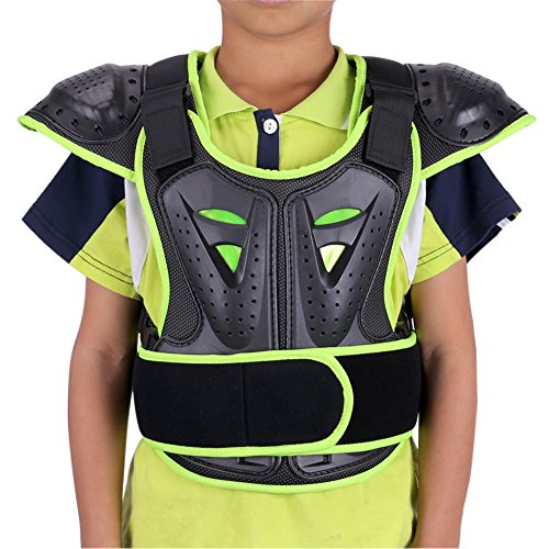 WINGOFFLY Kids Chest Spine Protector Body Armor Vest Protective Gear for Dirt Bike Motocross Snowboarding Skiing, Green S