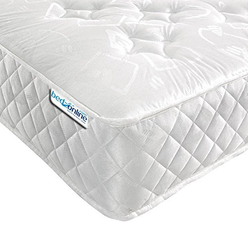 Bedzonline V Star Orthopaedic Open Coil Mattress, Fabric White, Single