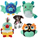 Ditucu 4 Packs Dog Plush Toys Sturdy Animal Squeaky Toys Interactive Durable Chew Toys Pet with Crinkle Paper for Small Medium Puppy Large Dogs