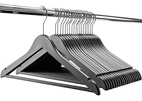 Modern Wood-Look Plastic Coat Hanger 20 Pack Wood Imitation Plastic Suit Hanger with Non Slip Pants Bar Splinter-Free Notched Shoulder Heavy Duty Hangers for Heavy Garments Dress Jackets Jeans