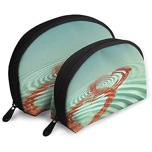 Wellen-Herz-Liebes-tragbarer Taschen-Make-upbeutel-Kulturbeutel, tragbarer Multifunktionsreisebeutel-Kleiner Make-upkupplungs-Beutel mit Reißverschluss