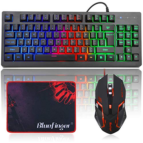 RGB 87 Keys Gaming Keyboard and Backlit Mouse Combo,BlueFinger USB Wired Rainbow Keyboard,Gaming Keyboard Set for Laptop PC Computer Game and Work (Renewed)
