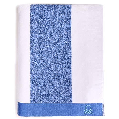 UNITED COLORS OF BENETTON. Toalla de Playa 90x160cm 450gsm Terry 100% algodón Azul Casa Benetton, 90x160