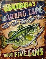 ブリキ看板 FIVE CANS MEASURING TAPE 'BOUT FIVE CANS 釣り系 アメリカ雑貨 店舗装飾 サインプレート メタルプレート ガレージ ポスター ブリキ 看板 おしゃれ カフェ バー 店舗