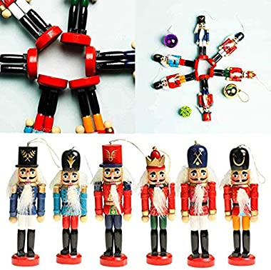 BlueSpace Christmas Nutcracker Ornaments Set Wooden Nutcrackers Hanging Decorations for Christmas Tree Figures Puppet Toy Gif