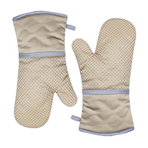 TFENG Ofenhandschuhe, Hitzebeständige Grillhandschuhe, Anti-Rutsch Backofen Handschuhe, Khaki,  1 Paar