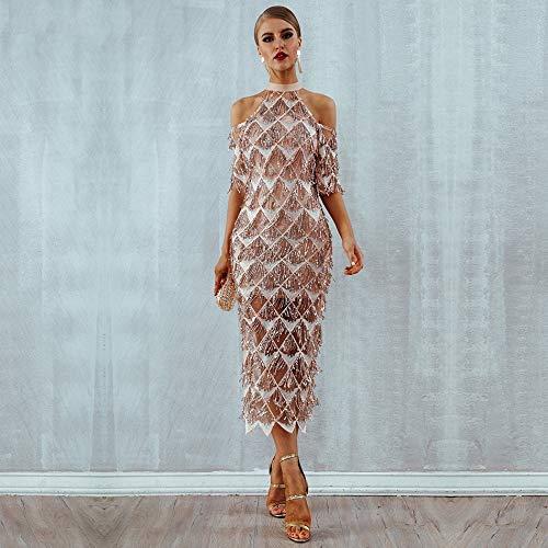 JJHR Kleider Elegante Pailletten Abend Party Kleid Mesh Runway Kleid Nachtclub Quasten Frau Fransen Kleid, L