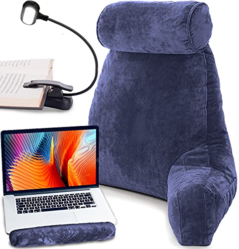 Premium Reading Bed Rest Pillow with Reading Light and Wrist Support Has Arm Rests Neck Roll and Back Support for Lounging Reading Working on Laptop Watching TV in Bed Has Memory Foam Filling