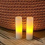 simpdecor Juego de 2 velas votivas LED sin llama con temporizador, funciona con pilas, para...