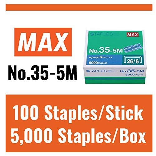 "Max 35-5M Standard Staples for USA; Leg Length 6mm (1/4""); 100 Staples per Stick, for Use with Max HD-50, HD-50R, HD-50F and other Standard Staplers, 0.25"" Leg Length, 0.5"" Crown Width, 5000 Count Photo #6"