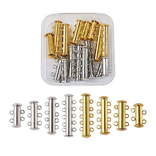 Pandahall 16 Sets Golden & Platinum Brass Multi-Strand Magnetic Slide Lock Clasps Necklace Bracelet Jewelry Making Tube Clasps