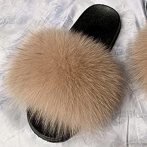 COQUI Zapatillas de Verano Case,Nuevas Zapatillas para Padres y niños Zapatillas para niños Summer Cuero Cuero Hierba Pelo Cremallera-Camello_26-27