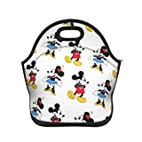 Cute Mickey Mouse and Minnie Insulated Neoprene Lunch Bags Portable Multifunctional Zipper Cooler Lunch Reusable for Adults Kids Nurse Teacher Work Outdoor Travel Picnic