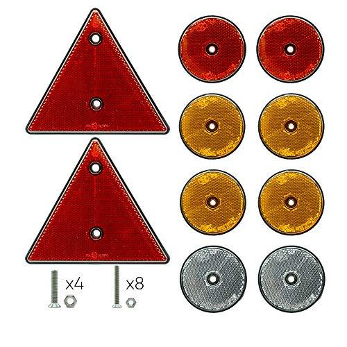Autodomy Reflectores Catadióptrico Triangular Redondos para Remolque Caravana Camión Homologados - Pack 10 Unidades + Tornillos de Acero Inoxidable