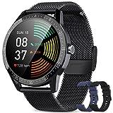 BANLVS Smartwatch, Reloj Inteligente Hombre IP68 con 3 Correas, Pulsómetro, 13 Modos Deportes, Smartwatch Hombre con Notificación Inteligente, Cronómetros, Podómetro para Android iOS