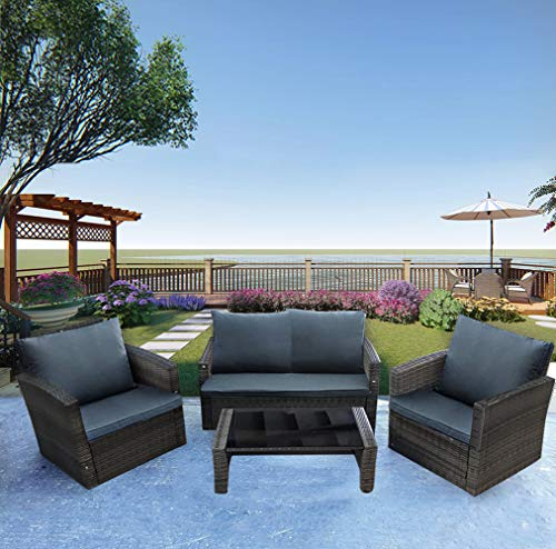 PananaHome Rattan Garden Furniture Set Patio Indoor Outdoor 4 Piece Conservatory Set Coffee Table Armchair Sofa Mixed Grey Wicker with Dark Grey Cushions