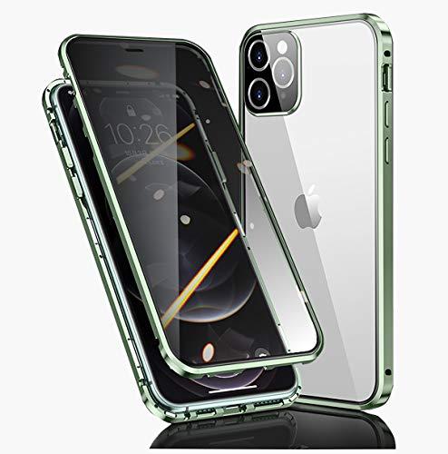 Funda para Apple iPhone 12/12 Pro anti espía, 360 °, cristal templado, protección antipeep magnético, marco de metal, antigolpes rugoso, antiespía, antiespía, para 12/12 Pro, 6,1 pulgadas, verde