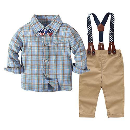 Tenue de Mariage pour bébé garçon Tenue de soirée pour bébé garçon Chemise à Carreaux + nœud Papillon + Bretelles + Pantalon Ensemble de 4 pièces de Costume (Bleu , 2-3 Ans)