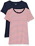 Amazon Essentials 2-Pack Slim-Fit Short-Sleeve Crewneck T-Shirt Camiseta, Raya roja/Blanca con Anillo de la Marina/Azul Marino, L