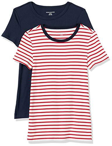 Amazon Essentials 2-Pack Slim-Fit Short-Sleeve Crewneck T-Shirt Camiseta, Raya roja/Blanca con Anillo...