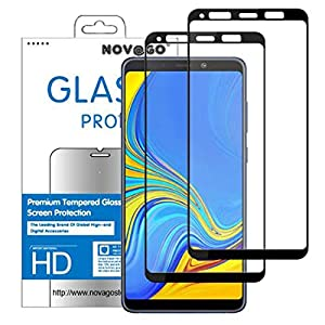Novago Compatible with Samsung Galaxy A9 2018 A920F - Pack of 2 Ultra-Resistant Tempered Glass Screen Protectors - Full Screen Coverage Films (Black)