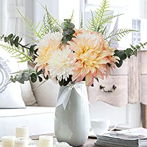 YUYAO Artificial Flowers Bouquet Fake Silk Dahlia Chrysanthemum Flowers with Greenery Arrangement for Office Home Table Party (Champagne)