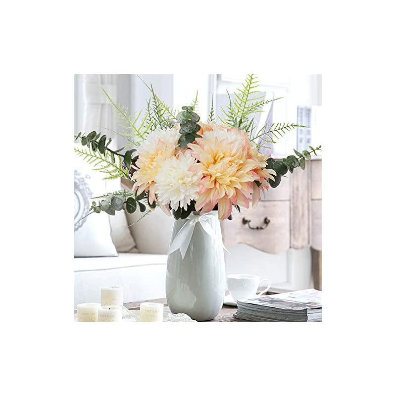 silk flower arrangements yuyao artificial flowers bouquet fake silk dahlia chrysanthemum flowers with greenery arrangement for office home table party (champagne)