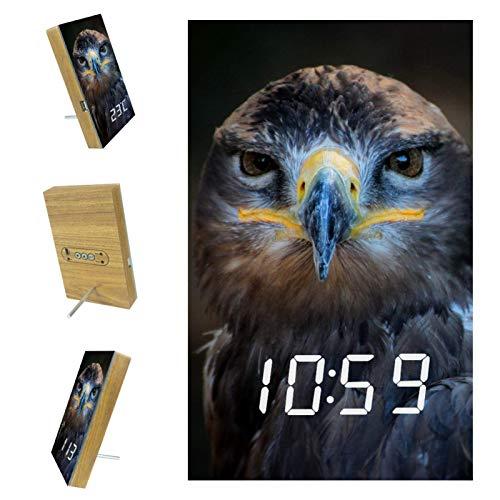 Digitaler Wecker LED Temperaturanzeige Tierische Eule Intelligente Sprachsteuerungsfunktion, USB Ladeanschluss, mit 3...