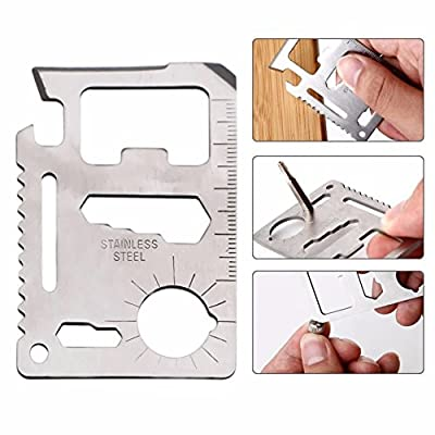 Multitool 11 in 1 Functions ~ Portable Wallet Pocket Size / Stainless Steel Survival Tool (1 Pack) from Cosi Fashion
