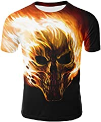 Gusspower Camiseta de Hombre,Deporte Camisa de Manga Corta con Estampado 3D de Calaveras para Hombres Blusas Deportiva Ropa Hombre Oferta Verano Running