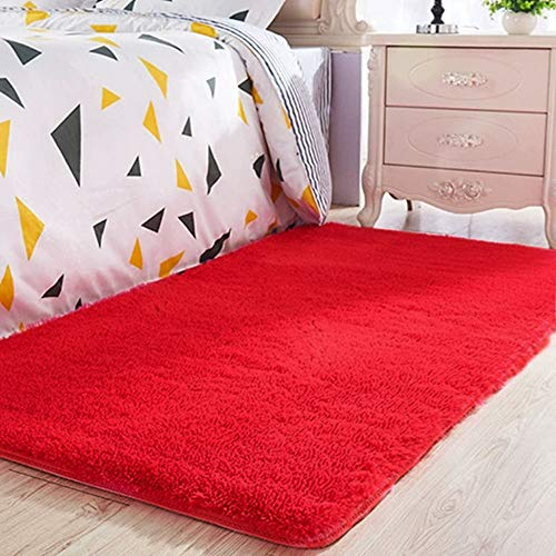 ORGRIMMAR Ultra Soft Indoor Modern Carpet Silky Smooth Rugs Living Room Area Rugs Suitable for Children Play Home Decorator Floor Bedroom Carpet 2.6 Feet by 4 Feet(Red)