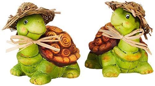 HEITMANN DECO Keramik-Schildkröten - Dekofiguren - Deko für Haus, Garten und Teich - bunt bemalt, 2er-Set
