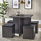 Dining Mainstays 5-Piece Dexter Set with Storage Ottoman (Reclaimed Grey)
