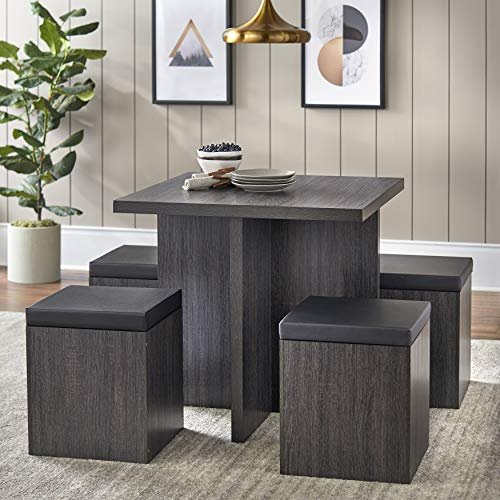 Dining Mainstays Dexter Set with Storage Ottoman (Reclaimed Grey)