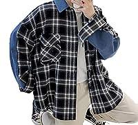 Feilei メンズ チェック シャツ ゆったり カジュアル 長袖 シャツ 上着 春秋 (2XL)